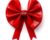 Rubber Latex hair bow clip in red black cream or metallic pewter by Mortiis.M