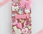 S A L E - 10% OFF Kawaii x Couture Pink Cream Theme Frosting, Sweets, Candy, Hearts, Stars, Bows, Gems Cute Girly Decoden iPhone 4 Case