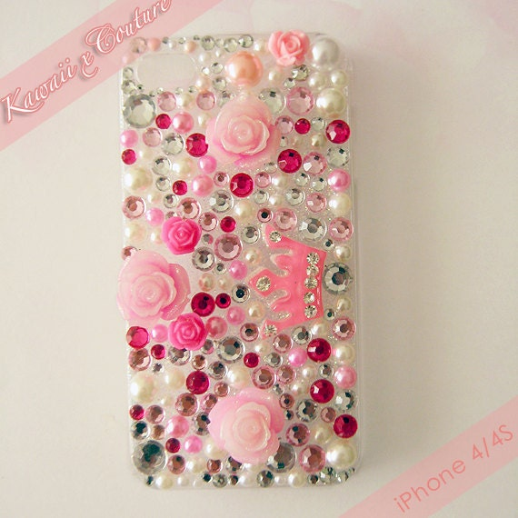 S A L E - 20% OFF Kawaii x Couture Pink Roses, Gems, & Crown Decoden iPhone 4/4S Case