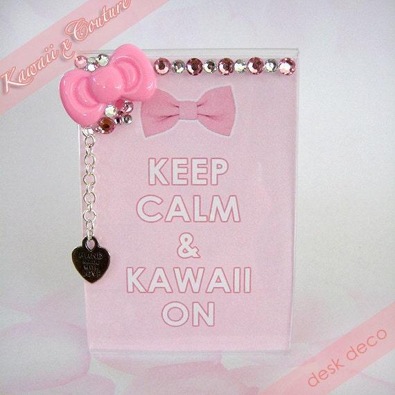 "Kawaii x Couture Desk Deco Decoden Frame Pink Hello Kitty Bow & Bling ""Keep Calm Kawaii On"""