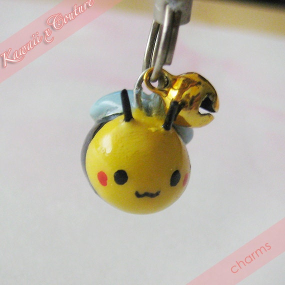 R E S E R V E D for Lynda - Kawaii Happy Honey Bee Handmade Clay Cellphone Charm, Zipper Pull