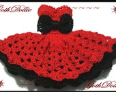 I'm your Valentine Goth Short Dress for Barbie clothes(Crocheted) by GothDollie