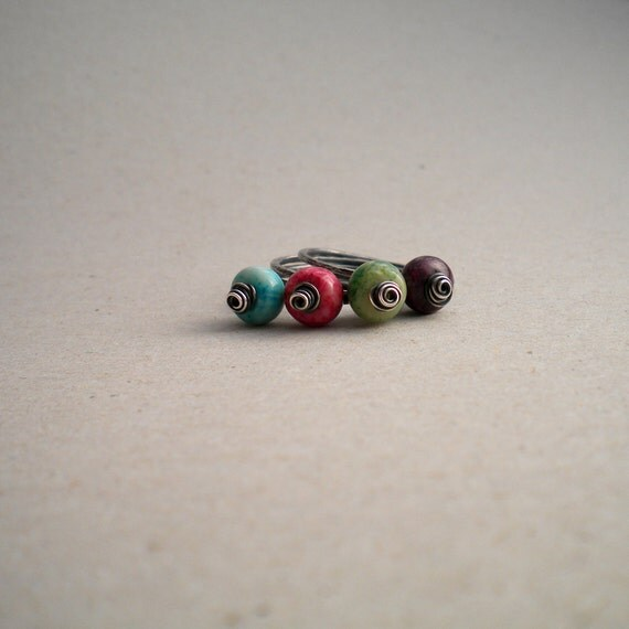 Sterling Silver Stacking Ring Set, Hammered, Oxidized Silver and African Opal Roundels, Set of 3, Made to Order