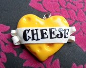 I Heart Cheese Polymer Clay Heart Banner Pendant Valentine's Day