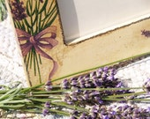50% OFF SALE.Wood photo frame Lavender field / Decoupage technique box vintage retro looking. Shabby chic rustic style