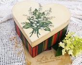 "Heart shaped Jewelry , Money , Tea box "" Snowdrops "" / Decoupage technique vintage Valentine Anniversary Wedding Shabby chic Ring Bearer Box"