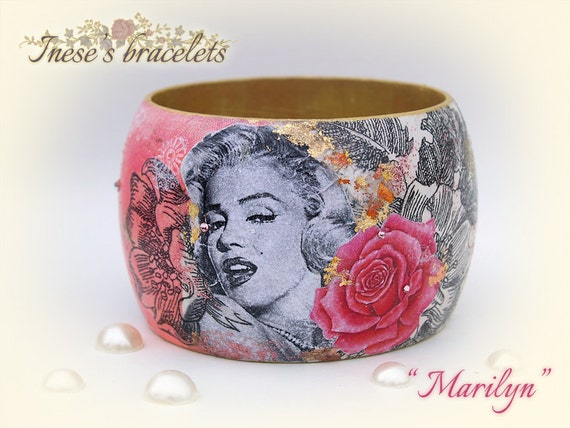 SALE Bangle Bracelet with Swarovski Crystals with Marilyn Monroe / Collage Art technique Shabby chic wood Decoupage bracelet