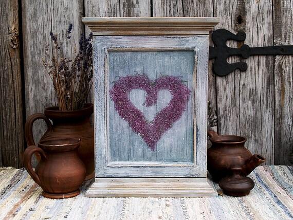 Decoupage Hanging Wooden Key Box, Key Cabinet, key storage, key hanger / Handmade House decor Shabby chic / 100 years old upcycled Rustic