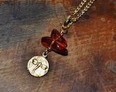 Teeny Tiny Dragonfly & Amber Necklace