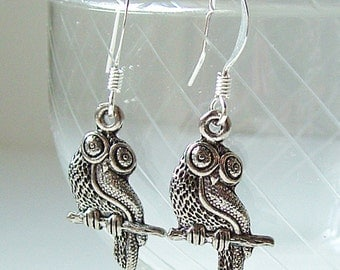 Athenian Owl Earrings -- Silver