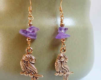 Athenian Owl Earrings -- Amethyst & Gold. Owl Jewelry.