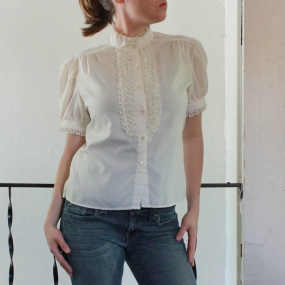 Vintage Victorian blouse. White Short Sleeve Blouse. Ruffled shirt.