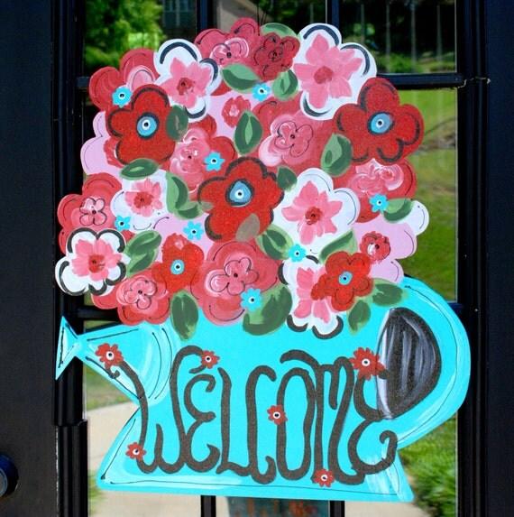 Summer Door Hanger, Flower Door Decoration, Mothers Day
