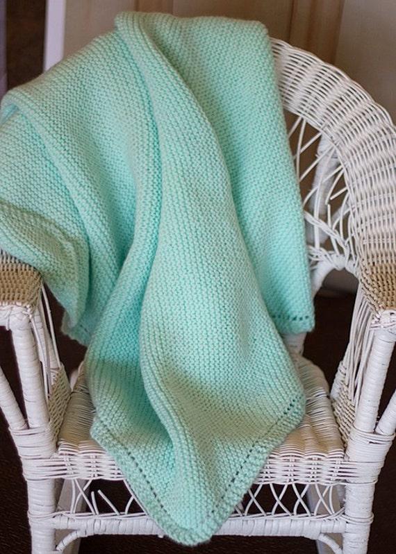 Soft Green Knit Baby Blanket