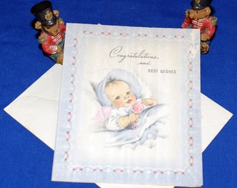 Vintage Baby Welcome Congratulations Greeting Card & Envelope 1940s 1950s Unused