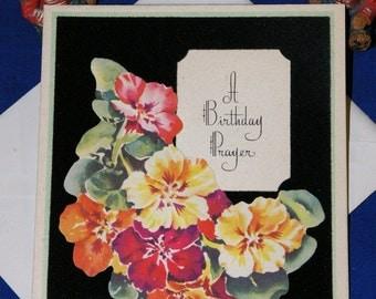 Vintage Happy Birthday Die Cut Flowers Greeting Card & Envelope 1940s 1950s Unused