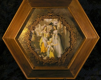 Vintage 1940s Hexagonal Gold Wood Framed Colonial Victorian Art Picture 2