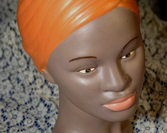 Vintage 1960s Hand Painted Holland Mold Bust Display of an Exotic Woman Girl