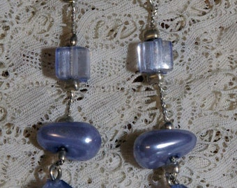 Vintage Lilac Blue Bead Drop Earrings on a Silver Tone Chain 1970s 1980s