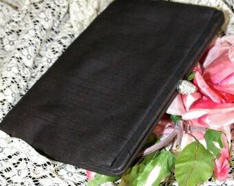 Vintage 1950s  Saks Fifth Avenue Black Fabric Rhinestone Clasp Evening Clutch Purse