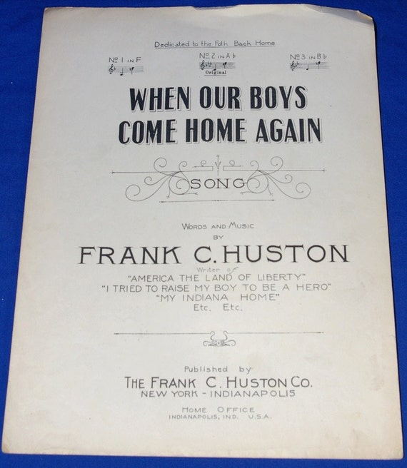 Vintage 1918 When Our Boys Come Home Again Song World War I Rare Sheet Music