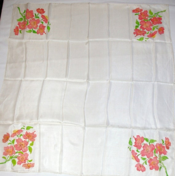 Vintage Hand Rolled Silk Scarf Floral Square Neck / Head Scarf Hand Painted Lavina New with tags attached  1950s