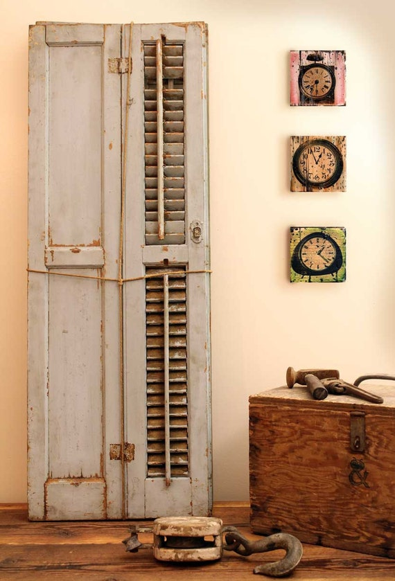 Items similar to antique window shutter home decor painted for Decorating with old windows and shutters