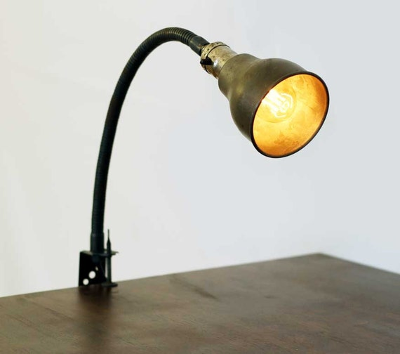 items similar to industrial clamp on desk lamp on etsy. Black Bedroom Furniture Sets. Home Design Ideas