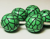Large 18mm Simulated Turquoise Beads (Qty.10) Green and Black