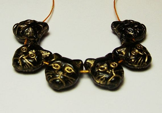 Black Cat Gold Speckled with Gold etched cat features Beads 13mm(height) x 12mm(width) (Qty.6)