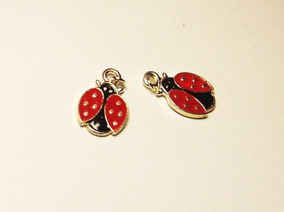 Ladybug Ladybugs Red Black Silver Plated for Charm Bracelet or Earrings