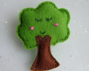 Hand Stitched Cute Felt Tree Brooch - Kawaii Pin Accessory