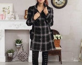 Check Woolen coat collar
