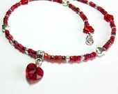 Childrens Red Swarovski Heart Necklace