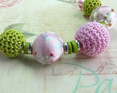 Child's Pink and Green Necklace with Fabric and Crochet beads