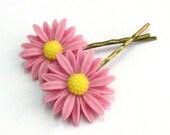 Daisy Hair Pins in Dusky Pink