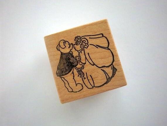 PSX Rubber Stamp WEDDING Bear Bride Groom D-775 Retired