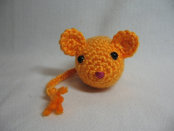 Cat Toy - Crochet Mouse - Catnip Filled Orange Mouse