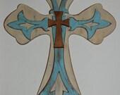 Robin's Egg Blue/Antique White Wood Cross