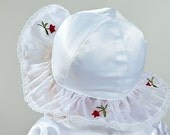 Sale Baptism / christening a luxurious little lady hat baby girl from 16 to 17.5 inch, OOAK, baby girl party hat, white baby hat