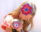 Matching July 4th Hair Clip Americana Red White and Blue Patriotic Mandala Flower