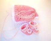 Pink Preemie BONNET AND BOOTIES