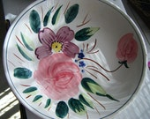 Mid Century Vintage Large Bowl With Hand Painted Flowers