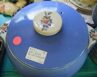 1940's Hall Rose Parade Covered Casserole Dish with Tab Handles