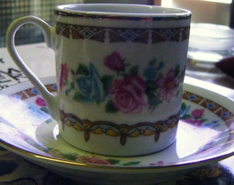 Pretty Vintage Porcelain Chintz Flowered Cup and Saucer