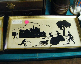 Antique Silhouette with Children at Play and People Out and About Framed