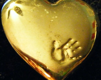 Vintage Gold Heart with Baby/Child's Handprint Pin or Brooch