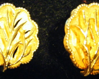 Stunning Pair of Vintage Coro Gold Dimensional Tree-Like Earrings