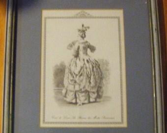 Victorian Framed Matted Fashion Picture Cour de Louis A Bureau des Modes Parisiennes
