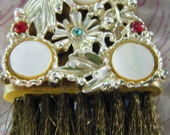 Antique Jeweled Gold Filled Purse Size Personal Wire Brush With Mother of Pearl For Lint Crumbs